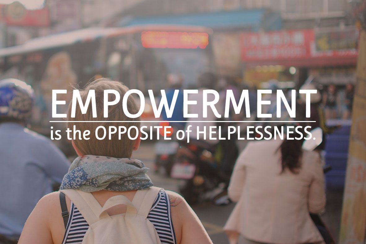 empowerment is the opposite of helplessness traveller in a busy marketplace