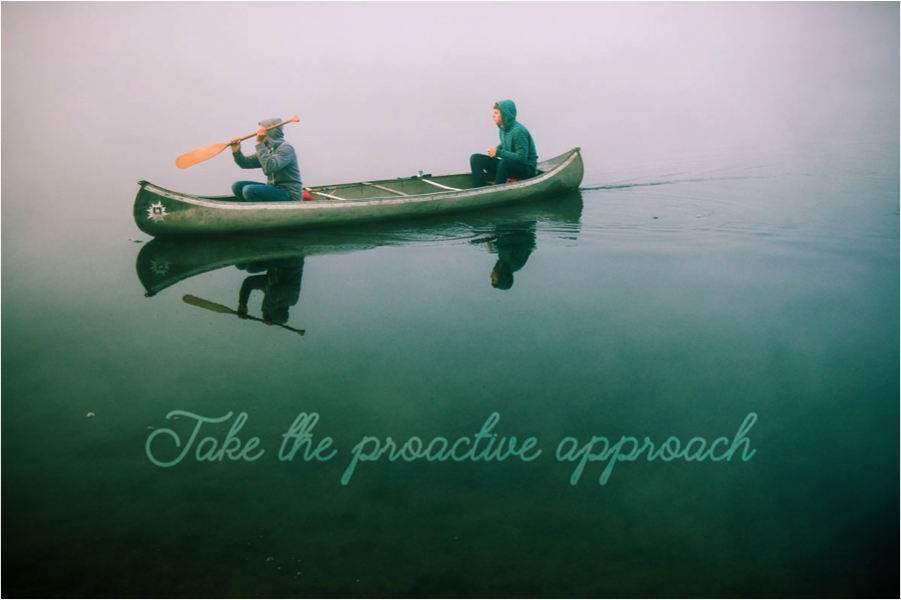 take the proactive approach two people in a canoe paddling across still water